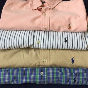 FOUR(4) POLO RALPH LAUREN LONG SLEEVE BUTTON shirt